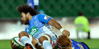 Kara Pryor of the Blues is tackled Harry Scoble of the Force during the round 13 Super Rugby match between the Force and the Blues. Photo / Getty Images.