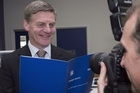 Bill English talks 2016 budget during his annual visit to Printlink in Petone.