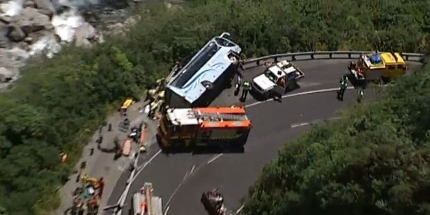The scene of the bus crash at Otira Gorge, which has left one person in a critical condition. Photo / 3 News