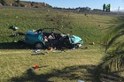 CRASH: A woman is in critical condition after an accident on Prebensen Dr in Napier this morning. PHOTO PAUL TAYLOR