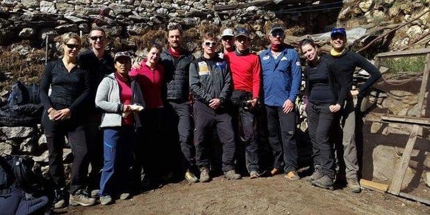 Marisa and Rob, far left, with the rest of the Arnold Coster Expidition group before the ascent. Photo / Facebook
