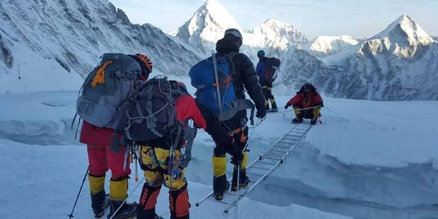 The expedition they were a part of at the Khumbu icefall. Photo / Facebook/Arnold Coster