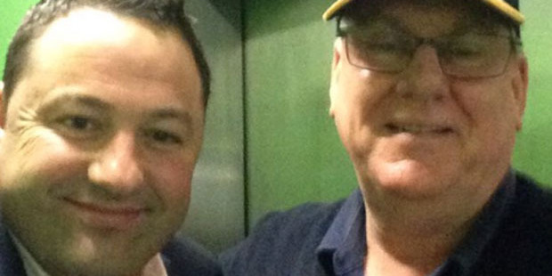 Duncan Garner and the man who saved him from his lift ordeal. Photo / Twitter / Duncan Garner