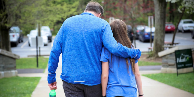Katherine's father, Dave Pommerening, and Katherine at a park near their house. Photo / Victoria Milko