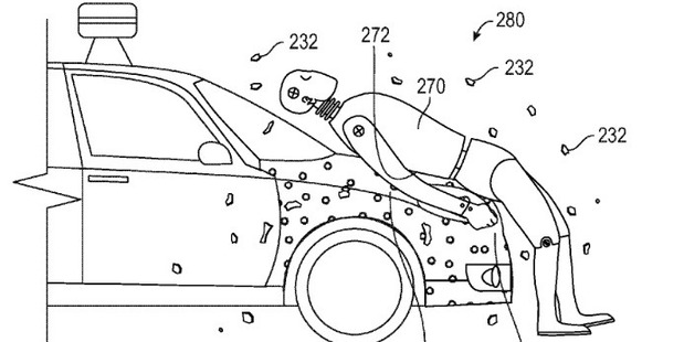 In a new patent, Google describes a system in which pedestrians struck by a vehicle would become stuck to the hood. Photo / US Patent and Trademark Office via Washington Post