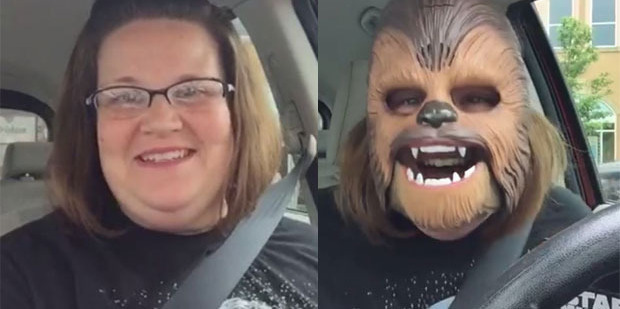 Candace Payne went live on Facebook as she unboxed and tried on her new Star Wars mask. Photos / Facebook