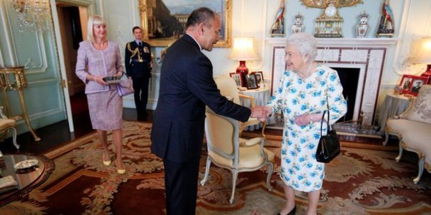 Sir Jerry Mateparae and his wife Lady Janine met with the Queen for the last time in his capacity as Governor-General. Photo / NZ High Commission Twitter