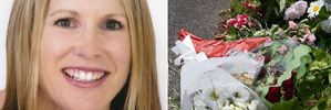 Jo Pert was killed while out jogging in Remuera, Auckland. Right, flowers near the spot where she was killed.