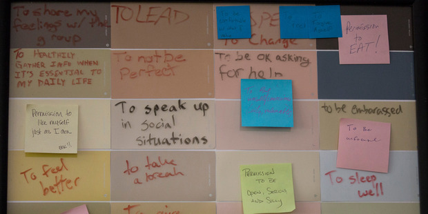 A board with self-improvement goals written by reSTART residents is on display at the treatment facility. Photo / David Ryder for The Washington Post