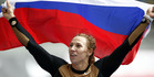 Russia's Maria Abakumova celebrates after winning the Women's Javelin Throw competition at the ISTAF Athletics Meeting in Berlin, Germany. Photo / AP