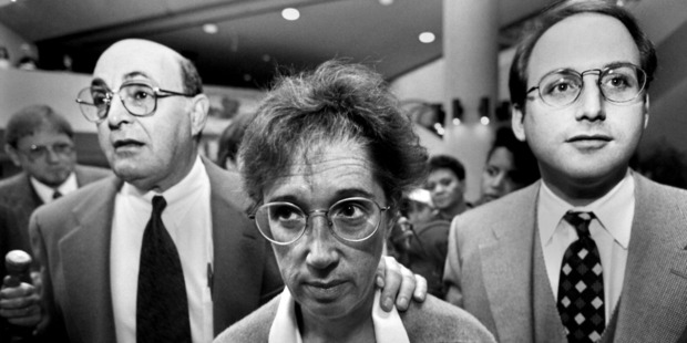 Ruth Ann Aron leaves the Montgomery County Courthouse in 1997 with then-attorneys Barry Helfand and Erik Bolog. Washington Post photo by Dayna Smith