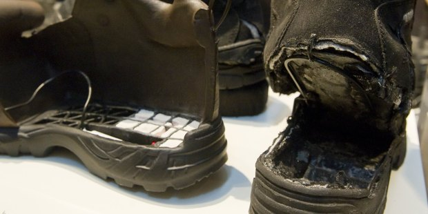The shoes used in the failed attempt to blow up an airplane by shoe bomber Richard Reid. Photo / Getty Images