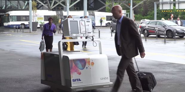 Passengers can have their bags checked in outside the terminal by Leo, the automated baggage handler. Photo / SITA