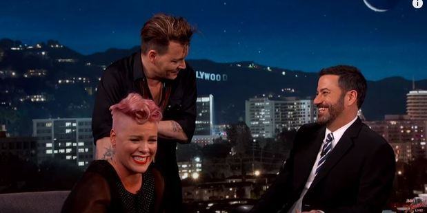 Pink meets Johnny Depp for the first time. Photo / Jimmy Kimmel Live YouTube