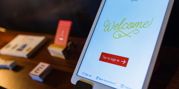 A guest registration tablet inside the San Francisco office space of Envoy. Photo / Nick Otto