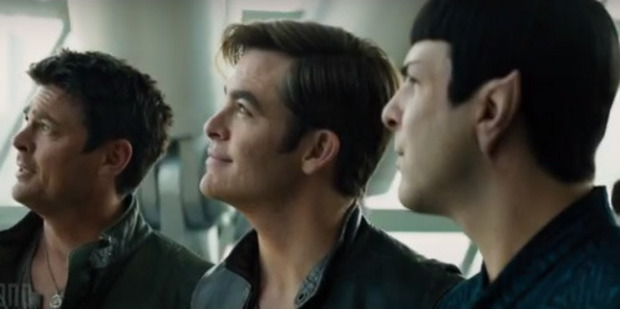 Karl Urban, Chris Pine and Zachary Quinto in the trailer for Star Trek Beyond.