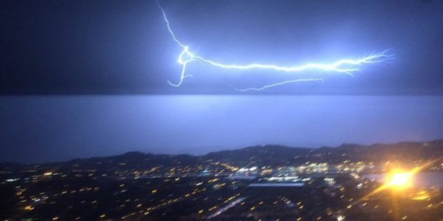 Lighting strikes illuminated the sky above Wellington last night. Photo / Garage_Project Twitter