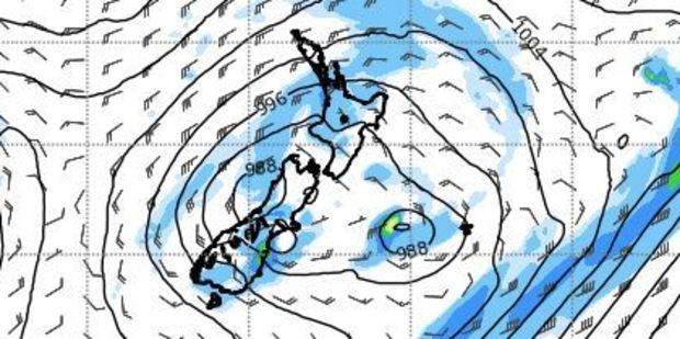 A cold southerly flow affects the country today. Photo / MetService