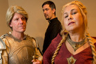 From left, Paul de Wild (as Ser Jaime Lannister), Stephen de Wild (as Lord Petyr Baelish) and Rozanne de Wild (as Queen Mother Cersei Lannister). Photo / Alan Gibson