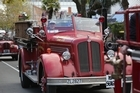 Whanganui's firefighters celebrated the 150th Jubilee with a drive along Whanganui's Victoria Ave. Video/Bevan Conley.