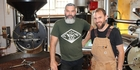Rocket Coffee co-owner Glen Woodcock (left) and Good George brewer Brent Edwards. Photo / Supplied