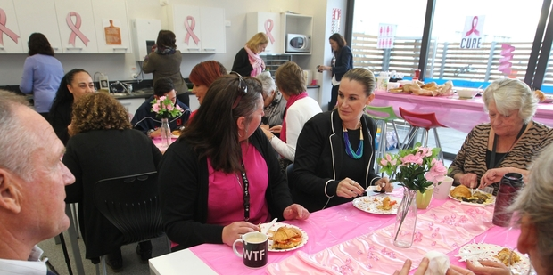 Darlene Banks, left, Catrina O'Connell, and Chrys Ayley enjoy yesterday's Pink Ribbon breakfast with all proceeds going to the Cancer Society. Photo / Duncan Brown