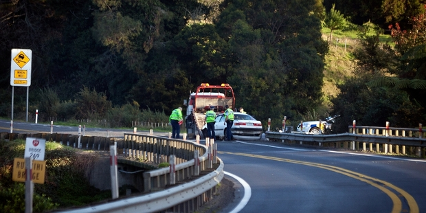 FOUR HURT: The scene where a car and truck collided on SH29 yesterday.PHOTOS/ANDREW WARNER