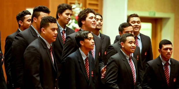 Hastings Boys' High School's Dynamic Sounds choir were the joint winners  of the other styles category, winning the Hawke's Bay Secondary Music Teachers Trophy. Photo / Warren Buckland