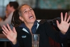 Steven Adam's former coach and guardian Blossom Cameron reacting while watching the NBA playoffs in a Wellington bar. 31 May 2016. New Zealand Herald photograph by Mark Mitchell