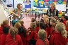Author Jennifer Somervell joined Takapau School children and teacher Dawn Meredith.