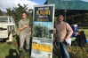 Whangarei recreation and historic ranger Clayton Blackwood and project senior officer Alistair Smith with signs warning of kauri dieback.