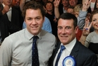 Hamish Walker (L) on election night 2014, with Cabinet Minister Michael Woodhouse. Picture / ODT