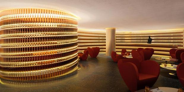 The hotel's whisky bar (pictured), lobby and restaurant, Kingbird, were designed by industrial designer Ron Arad. Photo / The Watergate Hotel