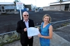 Bill Shepherd, Northland Regional Council chairman and Freya Johnstone, development manager for Johnstone Group, at the Reyburn St site the company plans to develop into a medical centre.