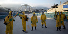Health workers in January sprayed insecticide to combat the Aedes aegypti mosquitoes that transmits the Zika virus at the Sambadrome in Rio de Janeiro. photo / AP