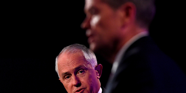 Prime Minister Malcolm Turnbull, left, and Opposition Leader Bill Shorten at the leaders' debate in Canberra. Photo / AP