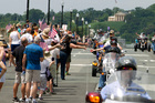 Participants in the Rolling Thunder annual motorcycle rally ride past Arlington memorial bridge in Washington. Photo / AP