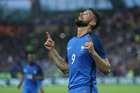 France's Olivier Giroud celebrates after scoring his team's second goal during a friendly match between France and Cameroon in Nantes on Tuesday. Photo / AP