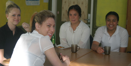 GOOD START: Kaitaia College students Jaimee Cassidy (left), Drew Sloane, Vanessa Waitai and Nita Kaka-Wells, four of more than 60 who patronised the college breakfast club on a Friday in 2013.