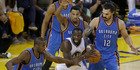 Steven Adams in action against the Golden State Warriors. Photo / Getty Images