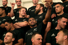 Waisake Naholo of The All Blacks takes a selfie during the New Zealand All Blacks team photo session. Photo / Getty Images.