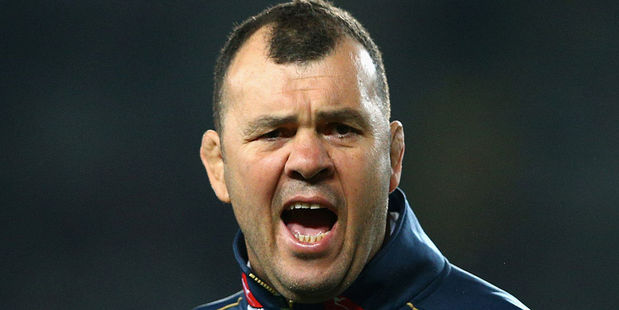 Wallabies coach Michael Cheika watches his team warm up during The Rugby Championship. Photo / Getty Images