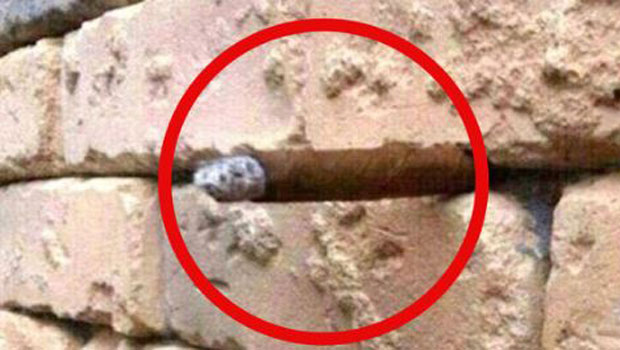 Identified: The image has gone viral as people have spotted a hidden optical illusion of what appears to be a cigar poking out from the wall.