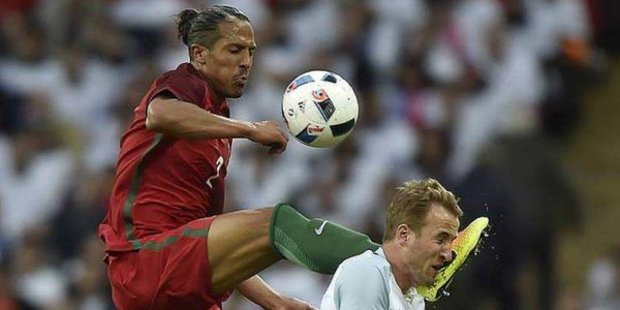 Bruno Alves of Portugal makes a dangerous challenge on England's Harry Kane. Photo / Twitter