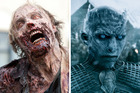 A zombie 'Walker' from The Walking Dead and a 'White Walker' from the TV show Game of Thrones.