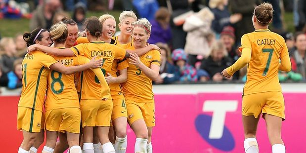 Caitlin Foord celebrates a second goal with team mates during the women's international friendly match between the Australian Matildas and the New Zealand Football Ferns. Photo / Getty Images