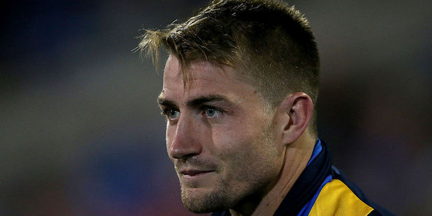 Kieran Foran sits on the bench during the round 12 NRL match between the Newcastle Knights and the Parramatta Eels. Photo / Getty