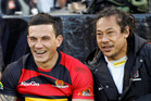 Sonny Bill Williams and Tana Umaga share a joke as they watch their Canterbury and Counties Manukau teams clash during an ITM Cup match in 2010. Photo / Getty Images