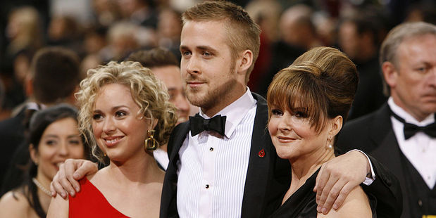 Ryan Gosling with sister Mandi Gosling and mother Donna Gosling. Photo / Getty Images