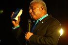 Frank Bainimarama speaks at the Fiji Festival at Vodafone Events Centre, Manukau in 2014. Photo / Getty